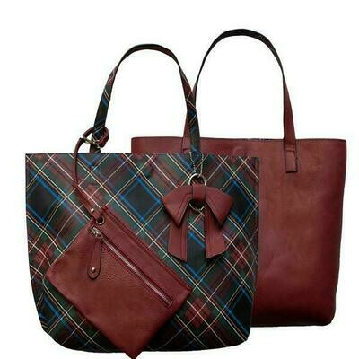 Nadia-Plaid Reversible Tote