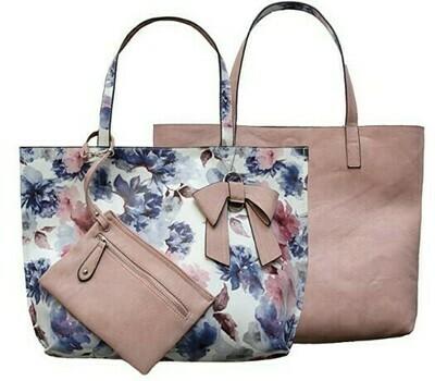 Nadia-Pink Floral Reversible Tote
