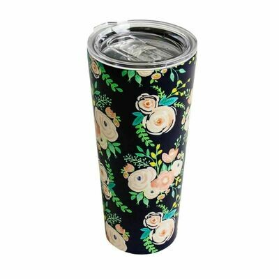 Blue Floral Stainless Steel Tumbler (Lg)