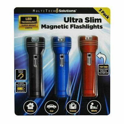 Ultra Slim Magnetic Flashlight 3pk NEW