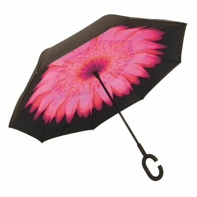 Upside Down Umbrella Pink Daisy