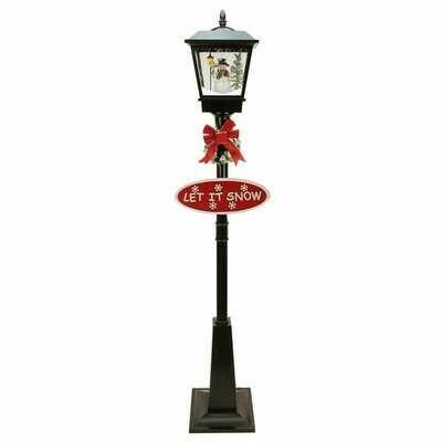 Musical Lamp Post Snowman