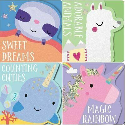 Animal Shaped Board Books 4-Set Llama/Narwhal/Unicorn/Sloth