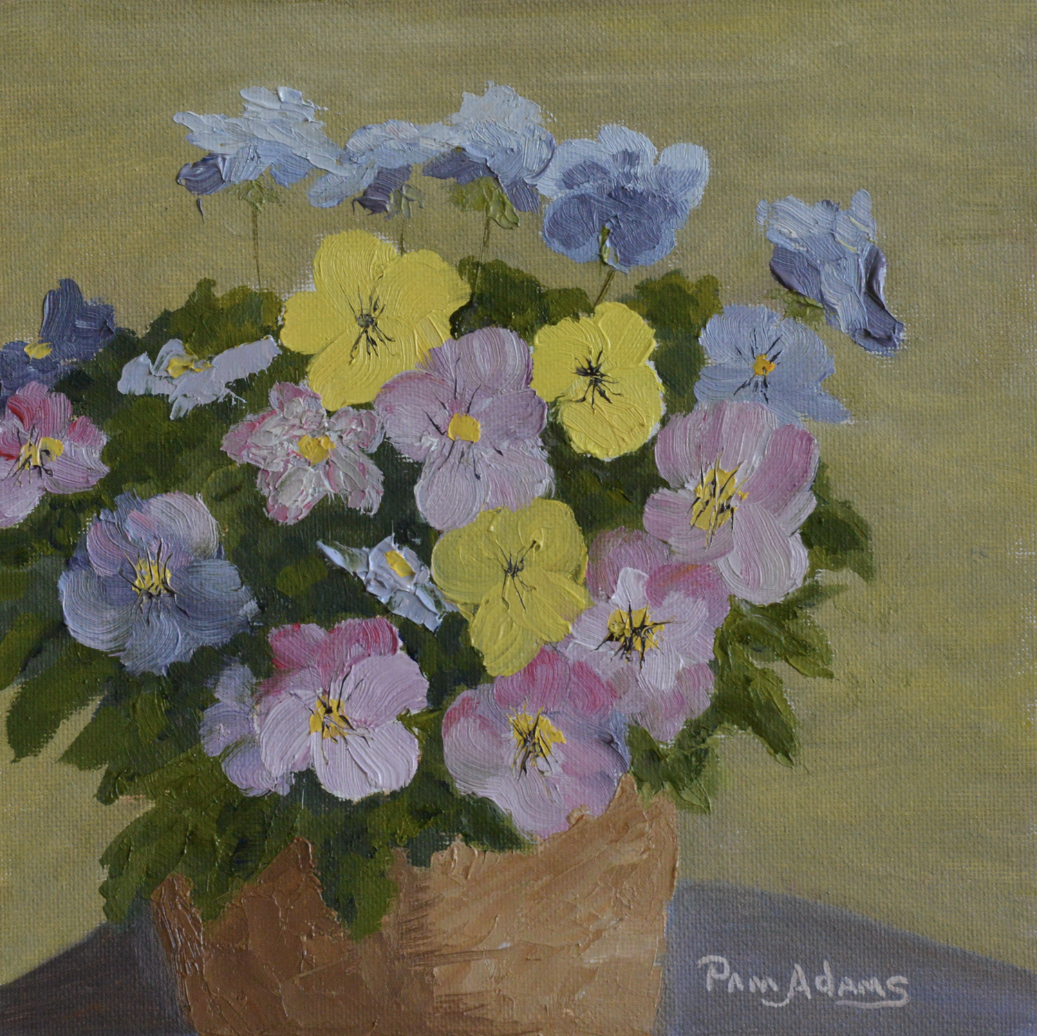 POTTED PANSIES by Pam Adams
