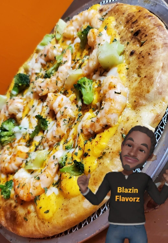 Cheesy Broccoli & Shrimp Pizza