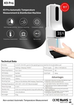 K9Pro Automatic Thermometer & Sanitizer Dispenser