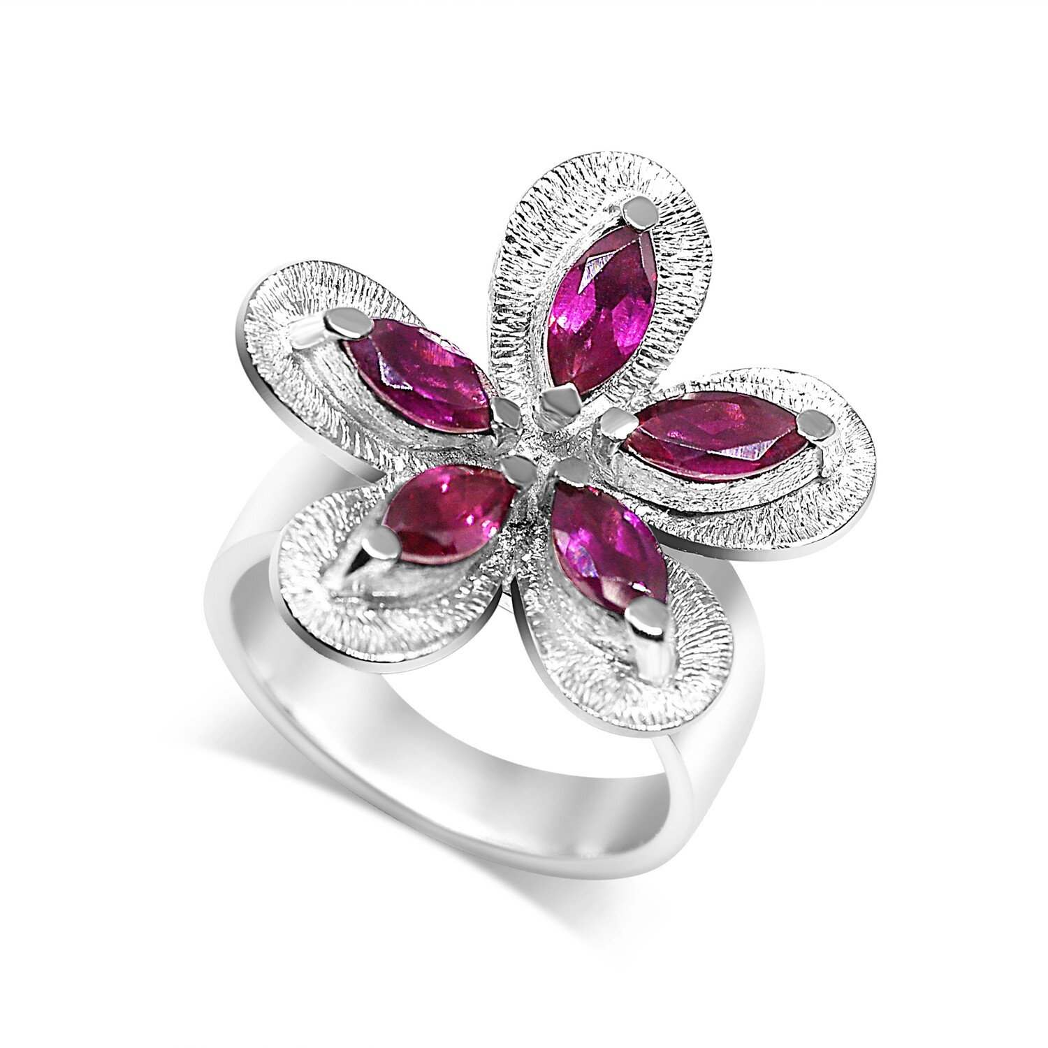 Flower Cocktail Ring Sterling Silver 925