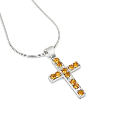 Citrine Cross Pendant and Chain Sterling Silver 925