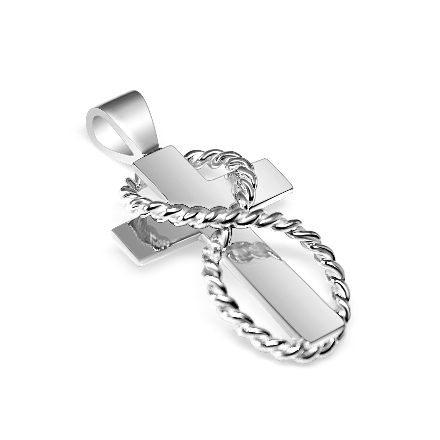 Cross Rope Sterling Silver Pendant and Chain Sterling Silver 925