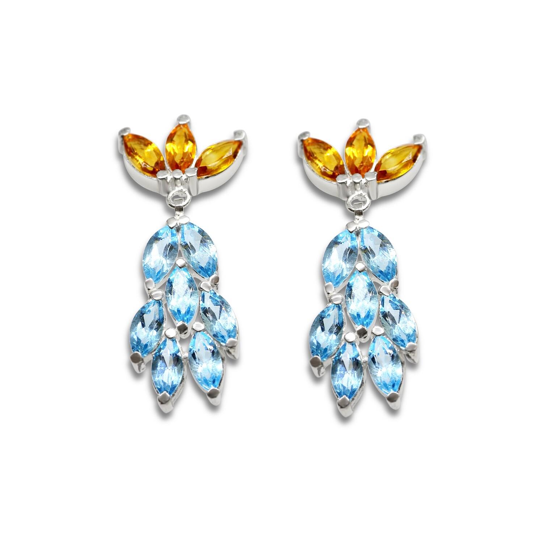 Flower Burst Earrings Sterling Silver 925