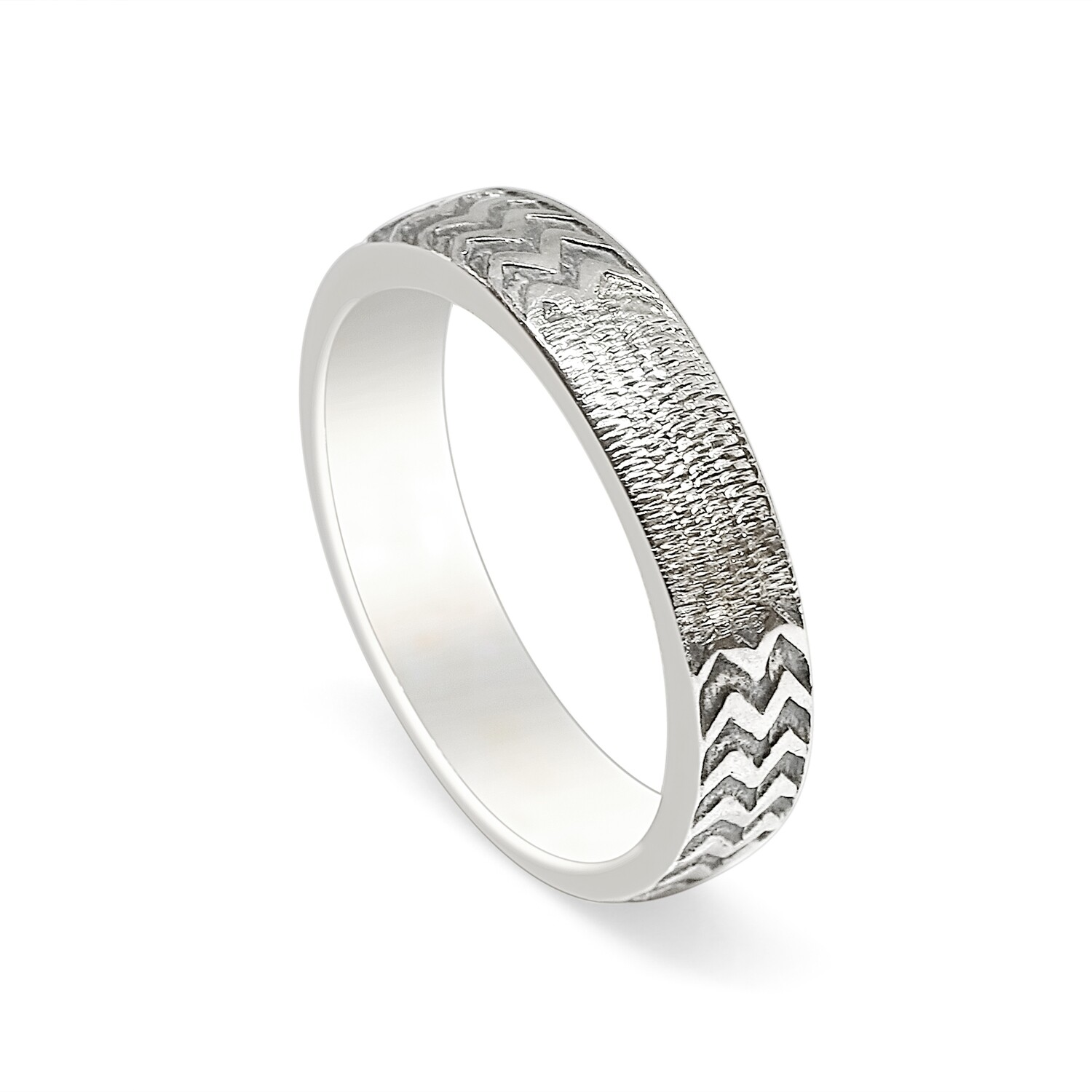 Zig Zag Hammered Ring Sterling Silver 925