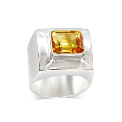 Brandy Citrine Pinky Ring Sterling Silver 925