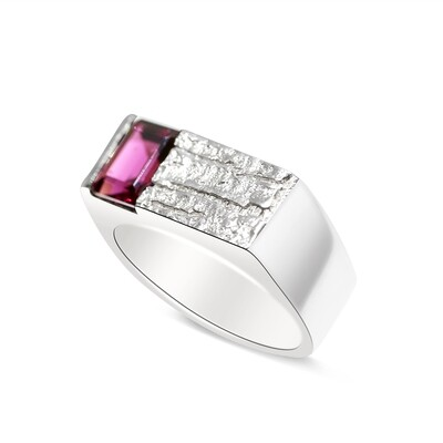 Tree Bark with Rhodolite Ring Sterling Silver 925