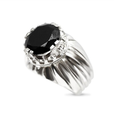 Crown Black Spinel Pinky Ring Sterling Silver 925