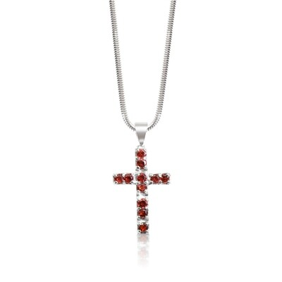 Garnet Cross Pendant and Chain Sterling Silver 925