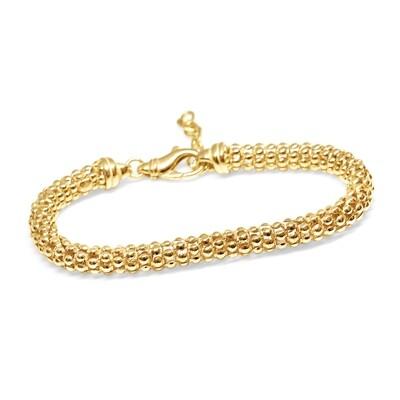 Popcorn Bracelet Gold 6.7 mm Sterling Silver 925