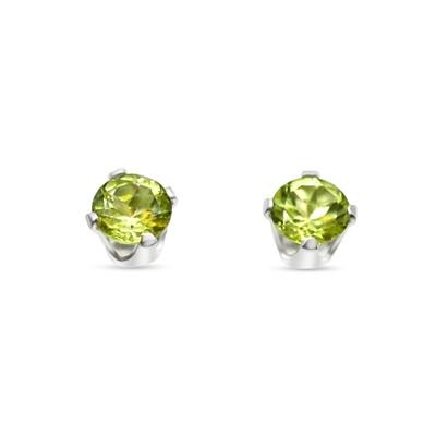 Peridot Earrings 5 mm Sterling Silver 925- Peridot Studs - 100% Natural Gemstone - Beautiful green vibrant color.