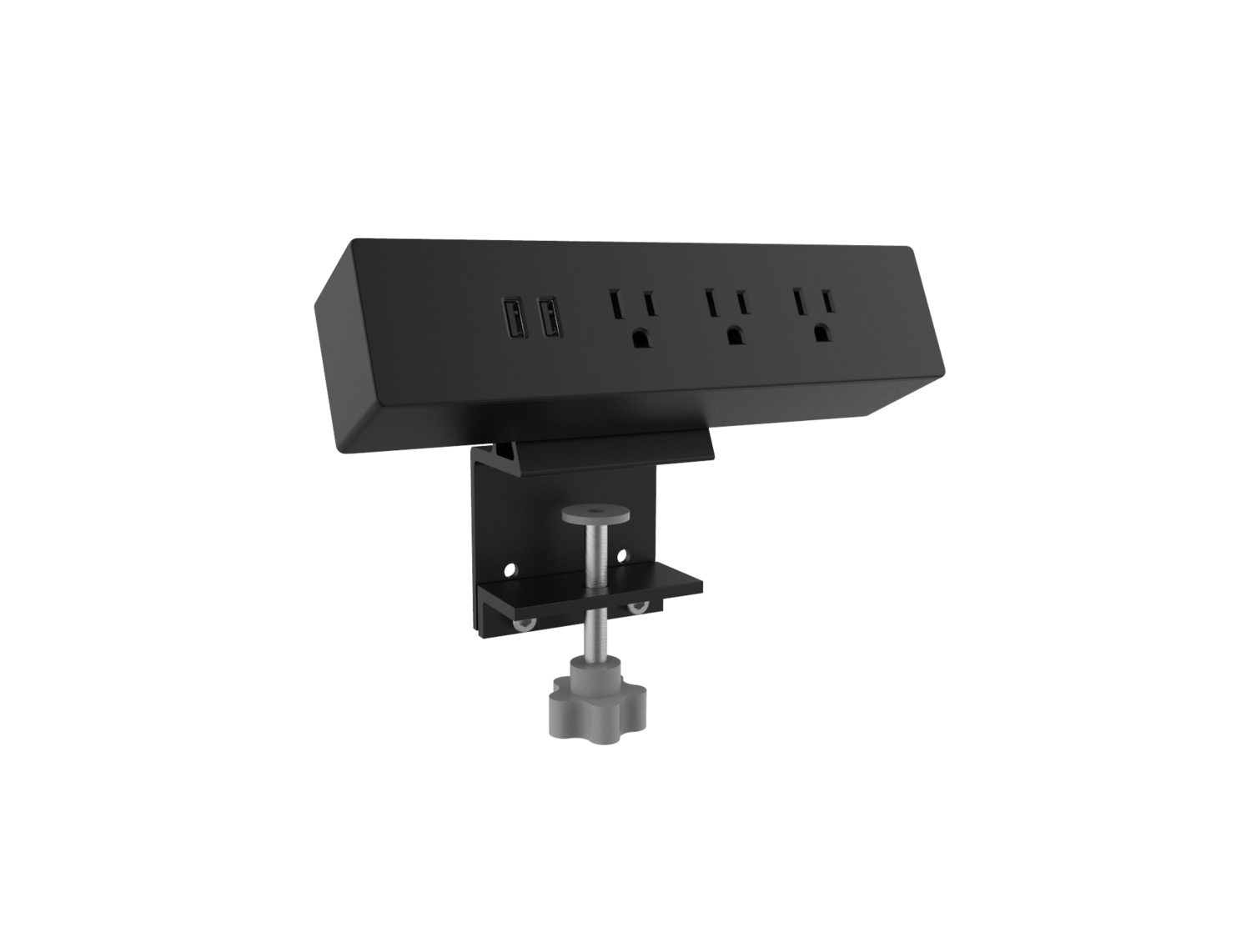 Clamp-on Power socket with 2-ports USB