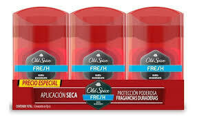 Old Spice 3 Pack Desodorante Fresh Barra, 50 g