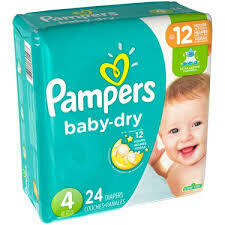 Pañales Pampers Baby Dry Talla 4 (22-37lb) 24 Unidades