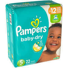 Pañales Pampers Baby Dry Talla 5 (27+lbs) 22 Unidades