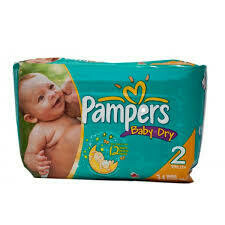Pañales  Pampers Baby Dry Talla 2 (12-18 lbs) 34 Unidades