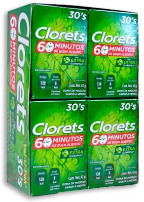 Chicle Clorets QI 30S, Paquete de 8 unidades 42 Gramos