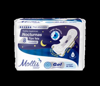 Toallas Sanitarias Mollis Nocturnas C/Alas Tipo Tela 8 Unidades