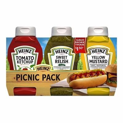 3 Pack Picnic - Salsa de Tomate Ketchup, Salsa de Pepinillo, Mostaza Amarilla Heinz 37.5 onzas