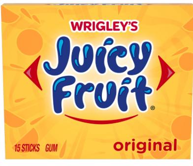 Chicle Wrigley's Juicy Fruit, Paquete de 10 unidades.