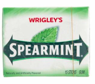 Chicle Wrigley's Spearmint , Paquete de 5 unidades.