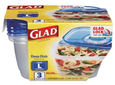 GLAD DEEP Dish Plato Hondo 3 recipientes con tapa 8 CUPS (64oz)1.89L
