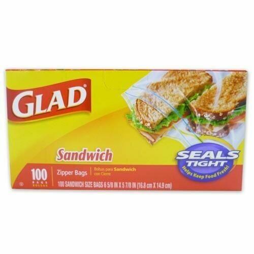 Glad Sandwich Zipper Bags 100 unidades