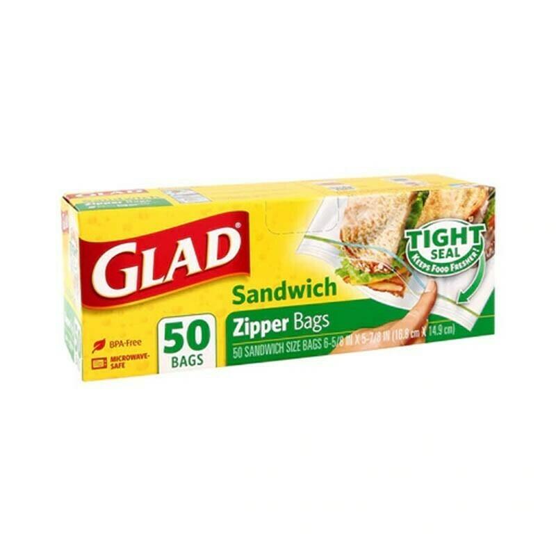 Glad Sandwich Zipper Bags 50 unidades