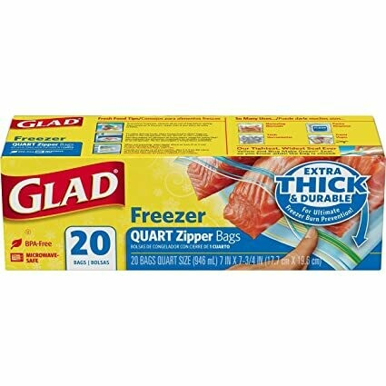Glad Freezer Quart Zipper Bags 20 unidades