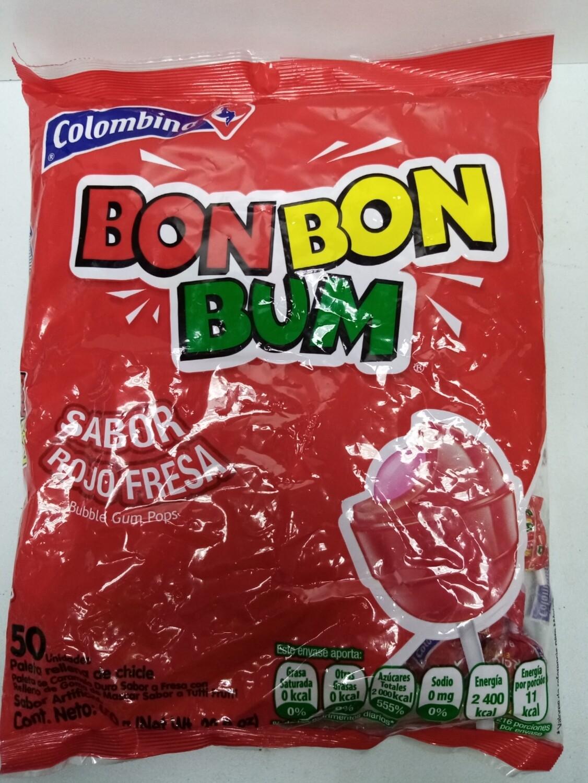 Colombina Bon Bon Bum Rojo Fresa, 50 unidades, 650gr