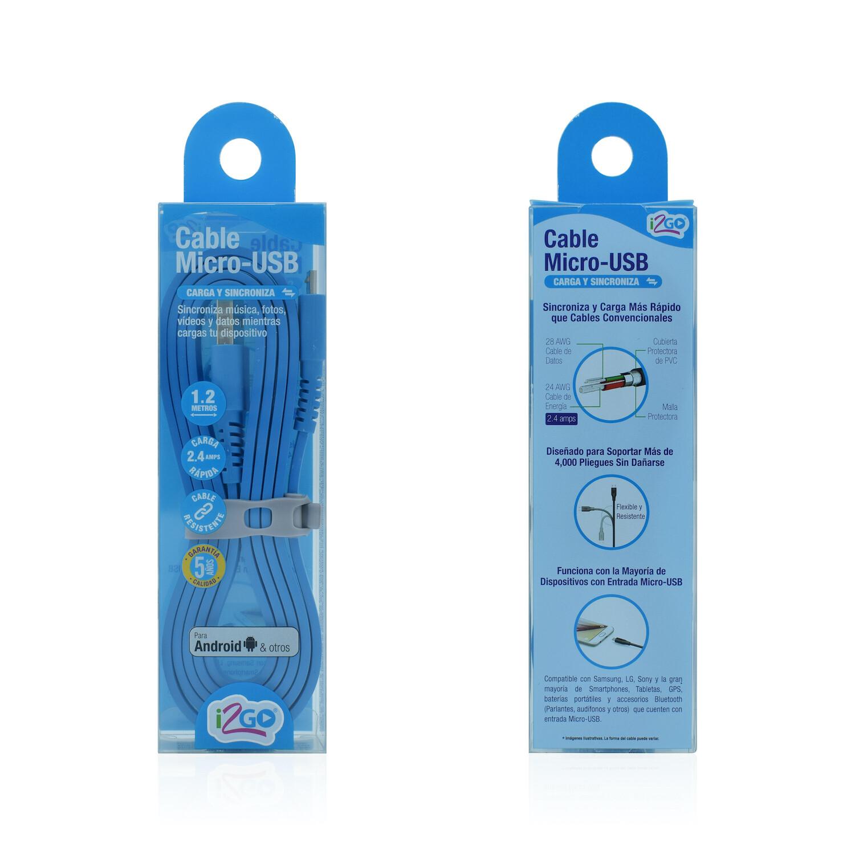 Cable Micro USB (1.2 mt) Carga y Sincroniza i2GO Azul