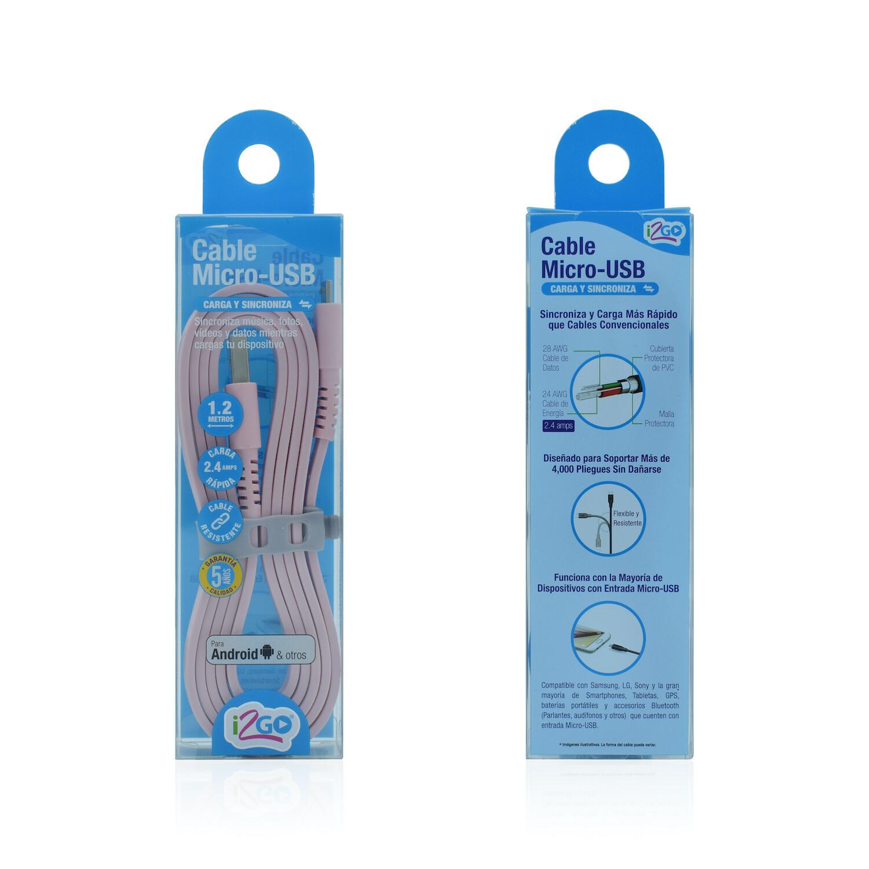 Cable Micro USB (1.2 mt) Carga y Sincroniza i2GO Rosado