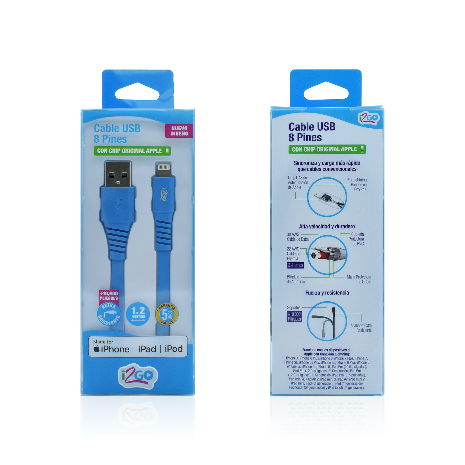 Cable Apple Lightning (1.2 mt) Carga y Sincroniza i2GO Azul