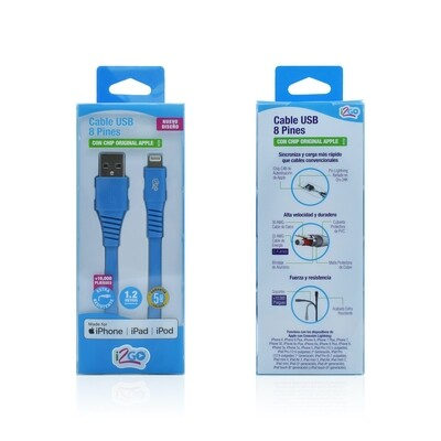 Cable Apple Lightning (1.2 mt) Carga y Sincroniza i2GO Azul