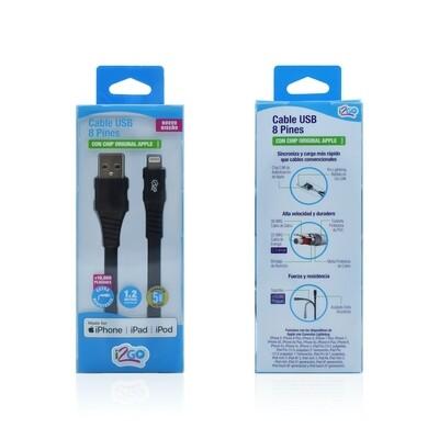 Cable Apple Lightning (1.2 mt) Carga y Sincroniza I2GO Negro