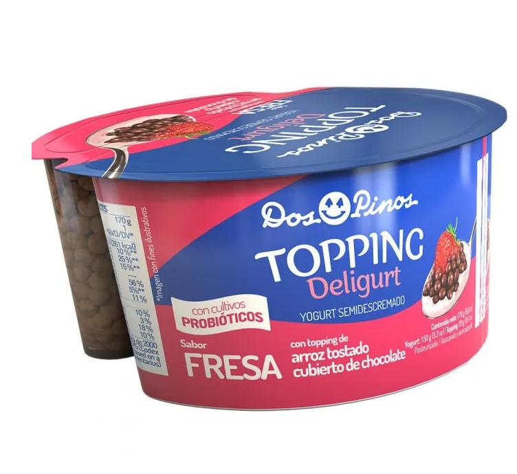 Yogurt Toping Dos Pinos Clasico Fresa-Arroz