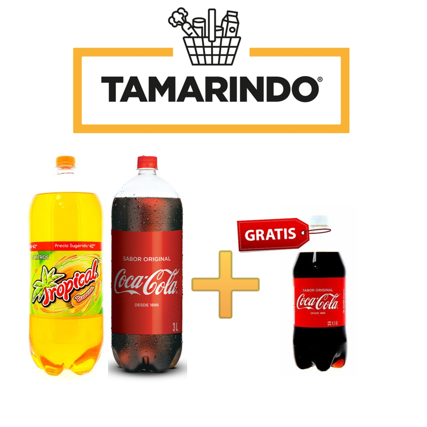 Promoción Coca Cola Original Botella 3L + Tropical Banana de 3L, recibe Coca Cola de 1.1ml Gratis.
