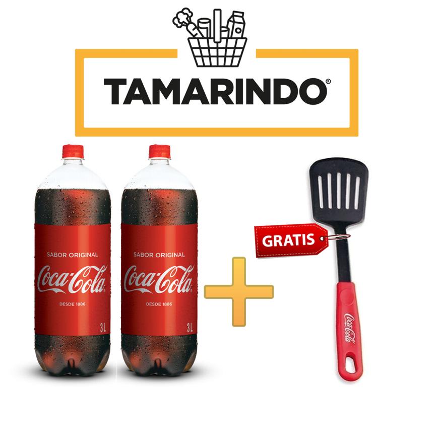 Promoción 2 Coca Colas Originales de 3 Litros más Utensilio de Cocina Gratis.