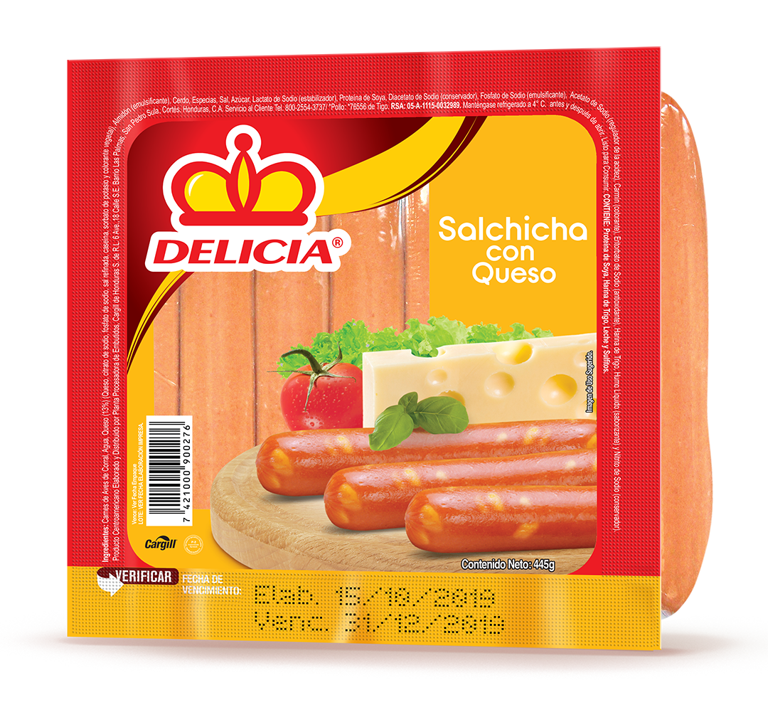 Salchicha c/ Queso 445gr Paquete Delicia
