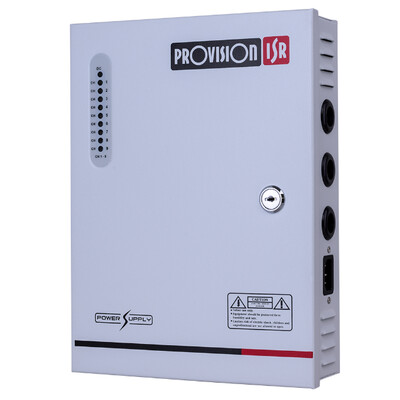 9CH, 12V/10A Proffesional power supply with room for backup battery with socket