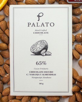 Barra 65% Chocolate Oscuro c/ Naranja y Almendras (PALATO)