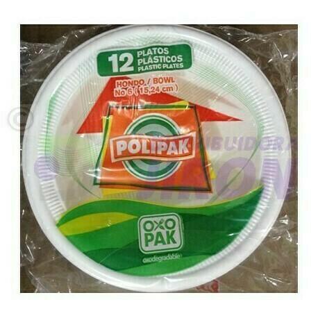 Plato Hondo Polipak Oxo #6 24 unidades Biodegradable
