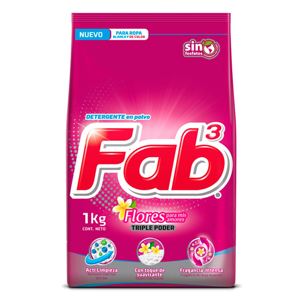 Detergente En Polvo Fab3 Flores Para Mis Amores 1kg
