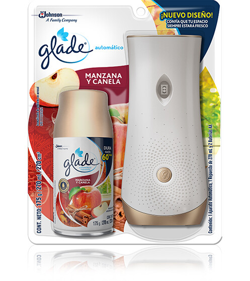 Aromatizante Glade Automatico Manzana y Canela con Dispensador, 175 Gramos